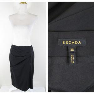 Escada Virgin Wool Black Ruched Pencil Skirt
